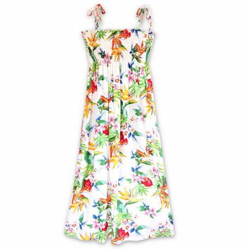 Jungle White Maxi Hawaiian Dress