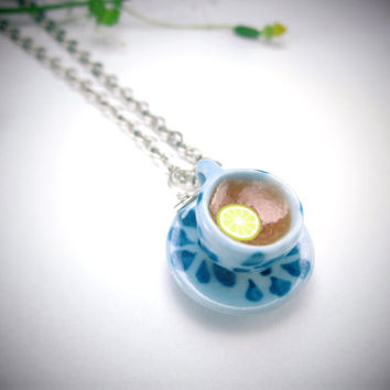 In Blue Teacup Necklace - Food jewelry