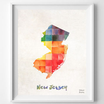 New Jersey, Map, Print, Atlantic City, USA, Poster, Watercolor, Painting, Home Town, Dorm Room, Art, States, Decor, Watercolour [NO 858]
