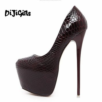 Fashion Women Round Toe Height Platform Extreme High Heels Shoes 16CM Snake Sexy Pumps Nightclub Evening Party Wine Red Black 40