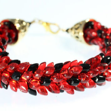 Red and Black, Magatama, Kumihimo Bracelet, Ladybug Jewelry