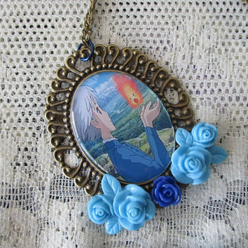 Howl's Moving Castle Necklace - SOPHIE & CALCIFER - Hayao Miyazaki Necklace
