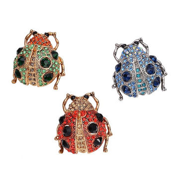 OBN 3 Color Vintage Gold Tone Rhinestone Lady Bug Brooches Pin For Women Men Red Beetle Brooch Collar Clip