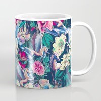Unicorn and Floral Pattern Mug by Burcu Korkmazyurek