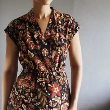 1970's botanical wrap dress by mydrawingnumberone on Etsy