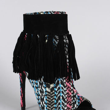 Privileged Fringe Tassel Open Toe Stiletto Ankle Boots