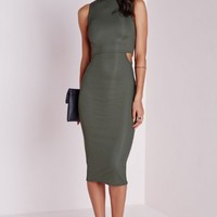 HIGH NECK CUT OUT BODYCON MIDI DRESS KHAKI