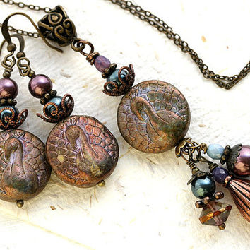 Peacock Jewelry Set, Dark Rustic Olive green, Peacock Necklace, Beaded jewelry, Bohemian jewelry, Peacock Earrings, Victorian Jewelry