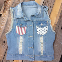 4th of July - Great Summer Denim Distressed Jean Vest, Red, White & Blue Stars n' Stripes
