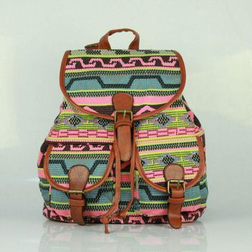 Day-First™ Ethnic Printed Cute Large Backpacks for College School Bag Canvas Daypack Travel Bag