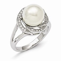 Sterling Silver Majestik 10-11mm White Shell Pearl & CZ Ring