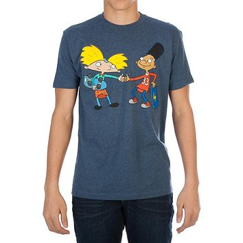 Nickelodeon Hey Arnold! Fist bump Men's Navy Tee Shirt