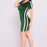 Albedo Lurex Dress - Green/White