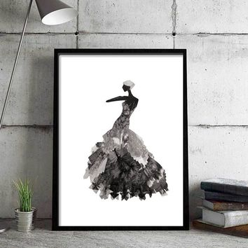 Dancer Black White Nordic Minimalist Canvas Art Print Painting Poster Wall Picture for Home Decoration 4 Different Sizes