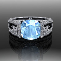 Blue Spinel and Diamond Engagement Ring 3.84 CTW