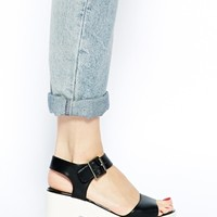 River Island Porter Sporty Black And White Low Heeled Sandals
