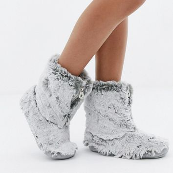 Bedroom Athletics Cole short faux fur slipper boot in gray at asos.com