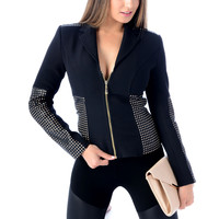 FEVER Clothing CHECK THEM OUT Black Zip Jacket
