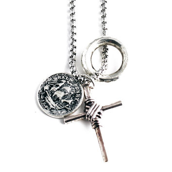 Mens Necklace w/Plated Alloy Charms