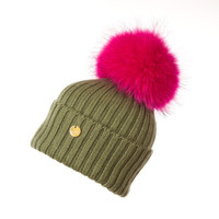 Luxury Fur Pom Pom Hat Pink