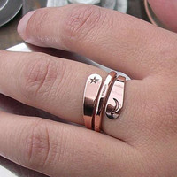 2 Turn Moon Star Energy Ring in Pure Copper by isidro on Etsy