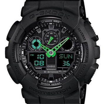 Casio G-Shock Anti-Magnetic World Time - Matte Black with Neon Green Accents