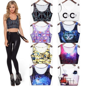 2015 New Arrival Fashion Harry potter Cartoon vest Women Tank top cropped Black milk camisole