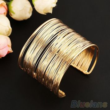 Fashion Women's Metal Multilayer Strings Wristband Bangle Cuff Jewelry Bracelet