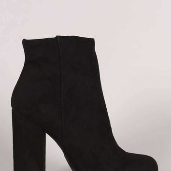 Bamboo Suede Almond Toe Chunky Heeled Booties