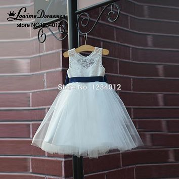 First Communion Dresses Rustic Lace Navy Blue Sash/Bow Flower Girl Dress White Country Toddler Wedding Baptism Pageant Dresses