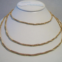 Long Twisted Double Chain Necklace Gold Tone Costume Jewelry Fashion Accessories For Her