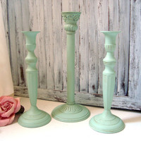 Mint Green Candle Holders, Cottage Chic Green Candlestick Holders, Set of 3 Vintage Candlesticks, Shabby Chic, Home Decor