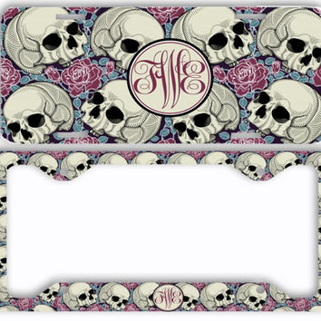 Sugar Skulls Roses License Plate Frame Car Tag Monogrammed Frame Personalized Set Custom Initials