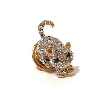 Rhinestone Tie Tack, Figural Kitten, Cat Tie Pin, Clear Rhinestones, Green Rhinestone Eyes, Pave Set, Men's Accessories, Vintage 1970s