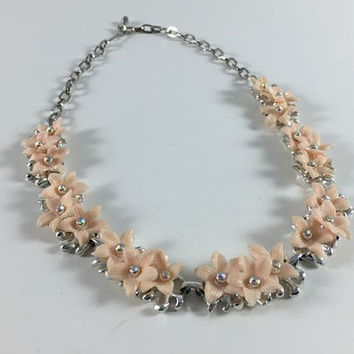 Vintage Retro Costume Jewelry Silver Toned Pink Flower Rhinestone Necklace