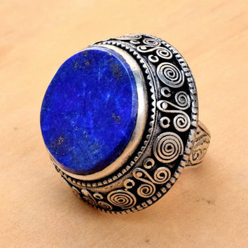 Kuchi Afghan Ring,Ethnic Ring,Festival,Hippie Antique Ring,Lapis Stone Ring,Bohemian,Lapis Jewelry,Wire Carved Tribal Ring,Gypsy Boho Ring