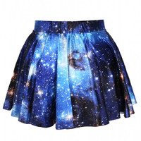 Aoki Fashion - Galaxy Print High-waisted Pleated Skirt