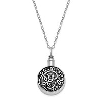 Rhodium Plated Sterling Silver Circle Butterfly Ash Holder Necklace