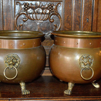 Antique Large Pair French Copper Brass Planters Cache Pots with Lion Head Handles Lion Paw Feet