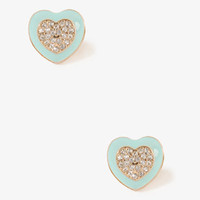 Lacquered Heart Center Studs | FOREVER 21 - 1030187981