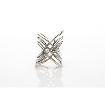 X Antique Silver Plated Adjustable Ring
