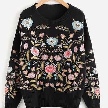 Botanical Embroidered Crew Neck Sweater