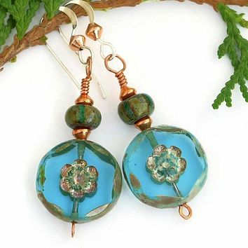 Turquoise Flowers Czech Glass Earrings Handmade Unique Beaded Jewelry