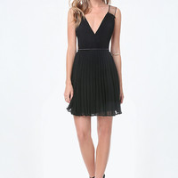 TULLE INSET PLEATED DRESS