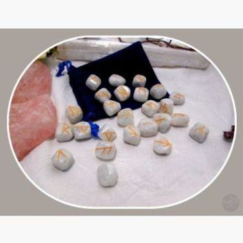 """Stone of New Beginnings"" Rainbow Moonstone Rune Set"