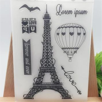 Iron Tower with Heart Balloon Transparent Clear Stamp DIY Silicone Seals Scrapbooking/Card Making/Photo Album Decorative Crafts