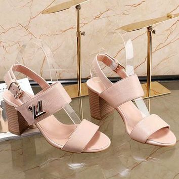 LV Louis Vuitton 2018 summer high heel open-toed metal buckle high-heeled sandals F-ALS-XZ pink