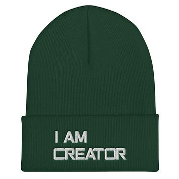 """"""" I AM CREATOR""""  Positive Motivational & Inspiring Quote Embroidery Cuffed Beanie"""
