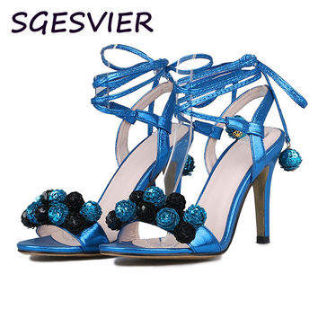 Sgesvier Fashion All-match Woman Sandals Thin Heels Solid Bling Women Shoes Sandals Cross-Strap Wedding Shoes Size 34-43 LP021