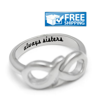 "Sister Gift - Infinity Sister Ring Engraved on Inside with ""Always Sisters"", Sizes 6 to 9"
